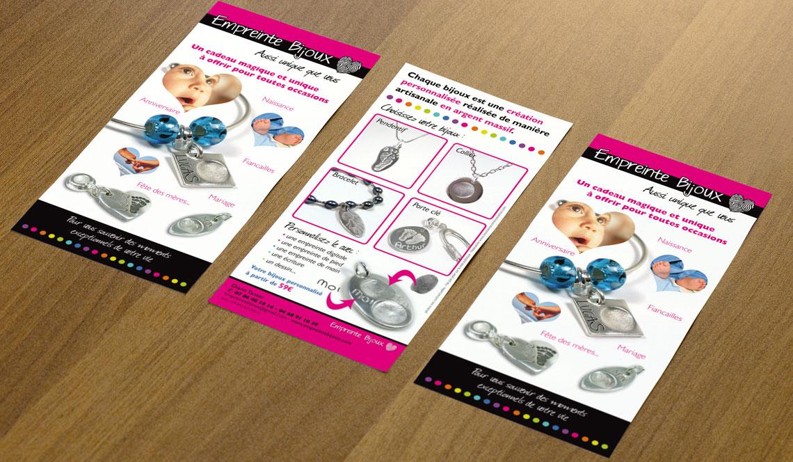 cr ation de flyers promotionnels de la soci t empreinte bijoux. Black Bedroom Furniture Sets. Home Design Ideas