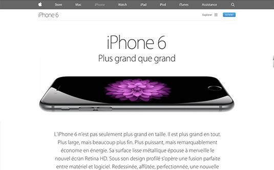 Site d'apple pour l'iphone 6