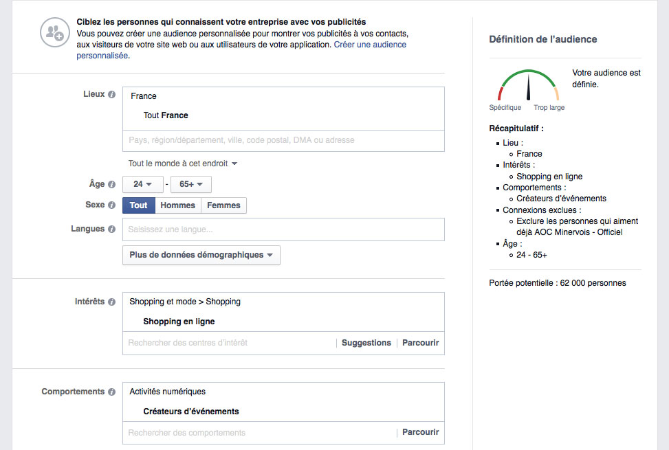 cibler une audience facebook