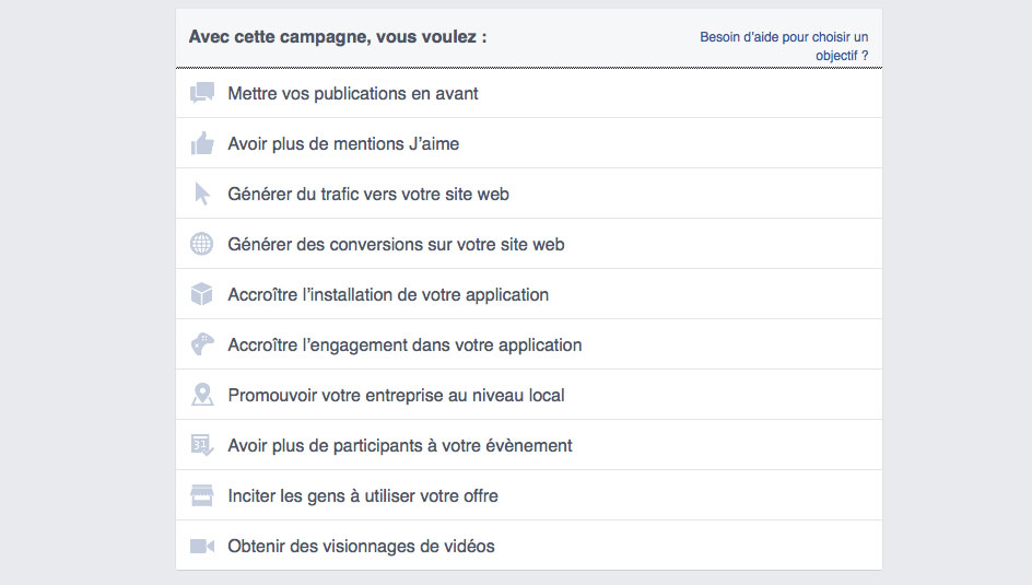 type de campagne facebook