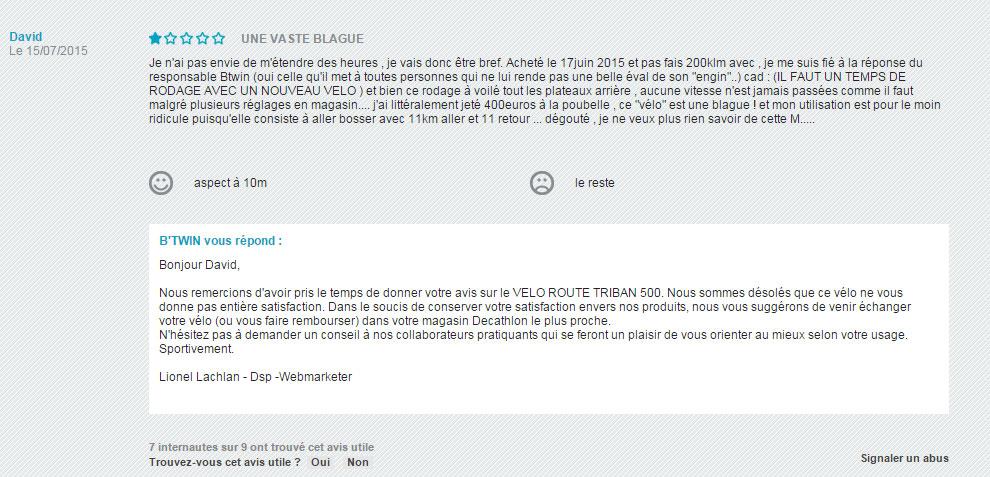 Réponse Btwin avis négatif