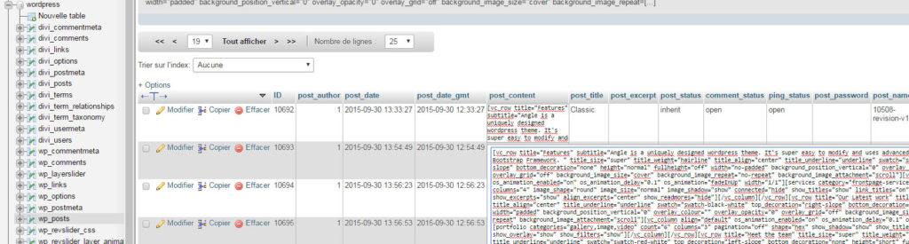 Wordpress (en haut à gauche) est le nom de la base de données, wp_posts est la table sélectionnée, et le gros texte immonde est le contenu d'une page contenu dans la colonne post_content